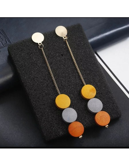 Multi color wooden earrings